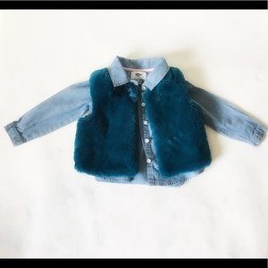 Faux Fur Vest & Button up Shirt 2T